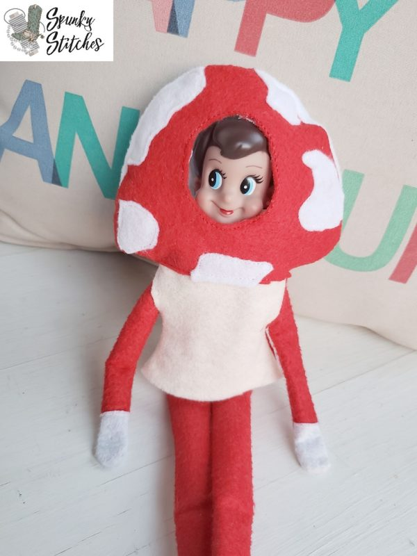Elf mushroom costume in the hoop embroidery file by spunky stitches
