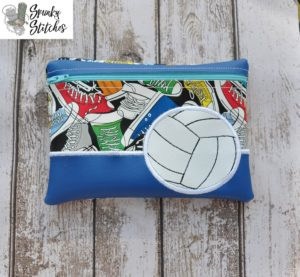 Volleyball zipper bag in the hoop embroidery file by spunky stitches