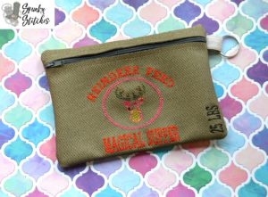 Deer Feed Zipper Bag in the hoop embroidery file by spunky stitches