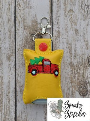 Christmas Truck Hand Sanitizer Key fob in the hoop embroidery file by spunky stitches