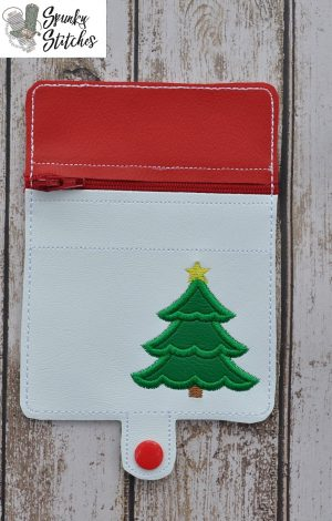 Christmas tree Mini Zipper Wallet in the hoop embroidery file by spunky stitches