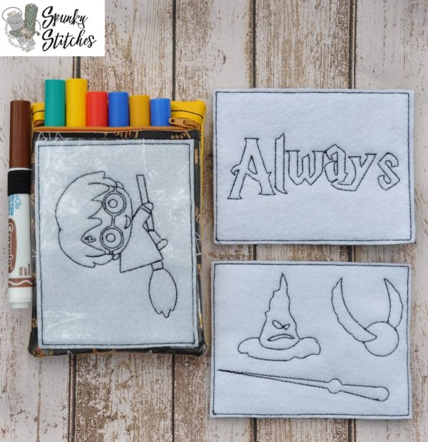 Color Me Harry Potter set in the hoop embroidery file by spunky stitches