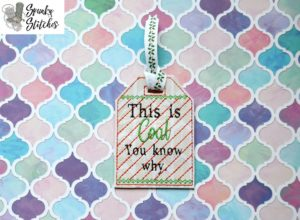 Coal Gift Tag in the hoop embroidery file by spunky stitches