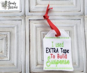 extra tape Gift Tag in the hoop embroidery file by spunky stitches