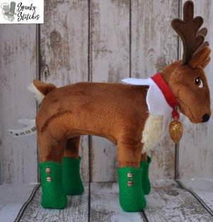 Elf Pet Reindeer Boots in the hoop embroidery file by spunky stitches