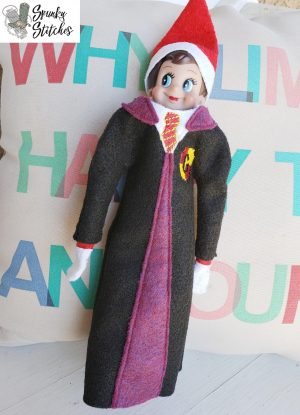 Elf Gryffindor robe in the hoop embroidery file by spunky stitches