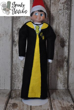 Elf Hufflepuff robe in the hoop embroidery file by spunky stitches