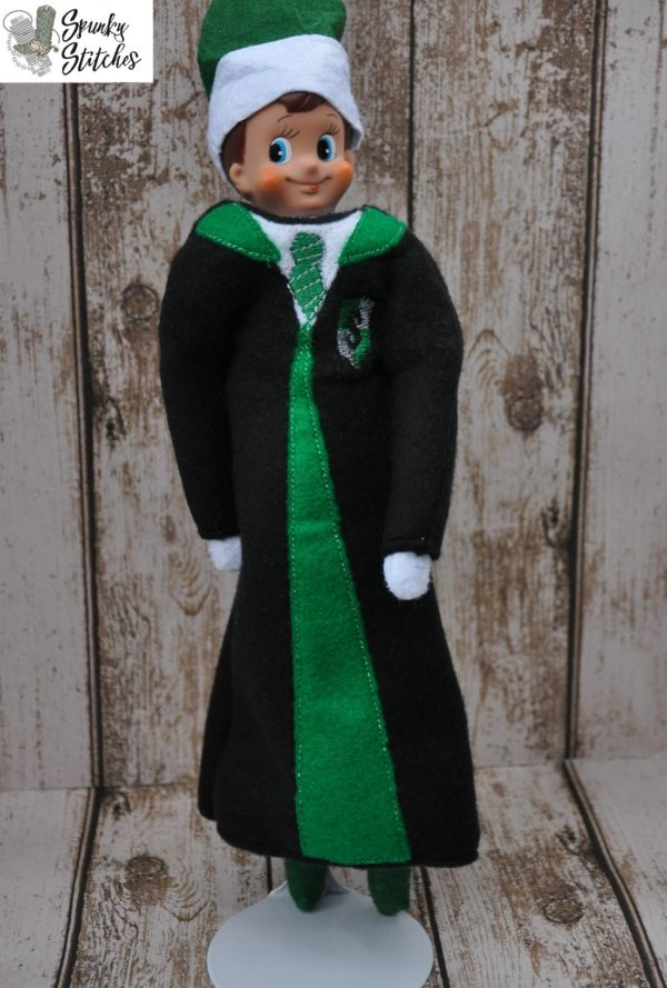Elf slytherin robe in the hoop embroidery file by spunky stitches