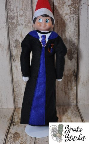 Elf ravenclaw robe in the hoop embroidery file by spunky stitches