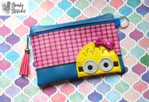 minion zipper bag in the hoop embroidery file by spunky stitches