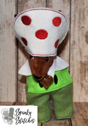 Elf reindeer mushroom pipe costume in the hoop embroidery file by spunky stitches