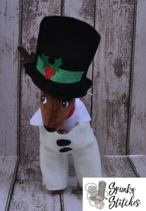 Elf reindeer snowman costume in the hoop embroidery file by spunky stitches