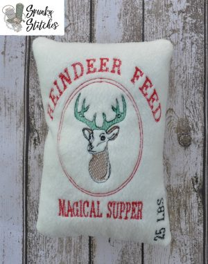 Reindeer feed pillow in the hoop embroidery file by spunky stitches