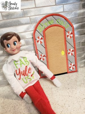 Elf door hoop embroidery file by spunky stitches
