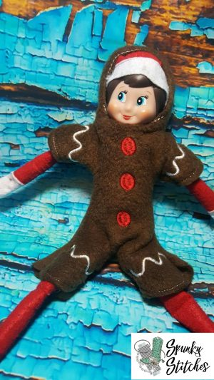 Gingerbread man elf costume in the hoop embroidery file by spunky stitches
