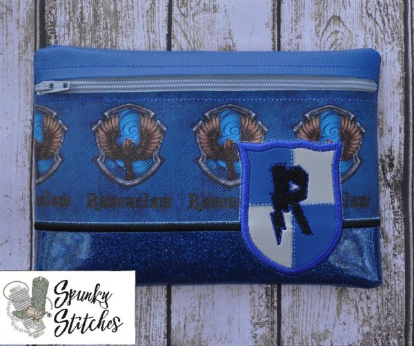 Ravenclaw Zipper Bag in the hoop embroidery file by spunky stitches