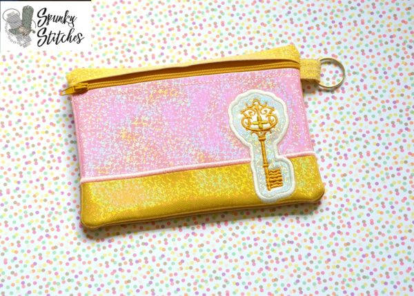 Nutcracker Key Zipper Bag in the hoop embroidery file by spunky stitches