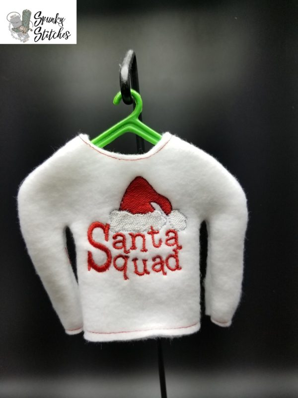 elf santa squad shirt in the hoop embroidery file by spunky stitches