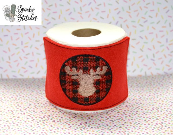 moose plaid toilet paper wrap in the hoop embroidery file by spunky stitches