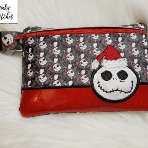 Santa Jack Zipper Bag in the hoop embroidery file by spunky stitches
