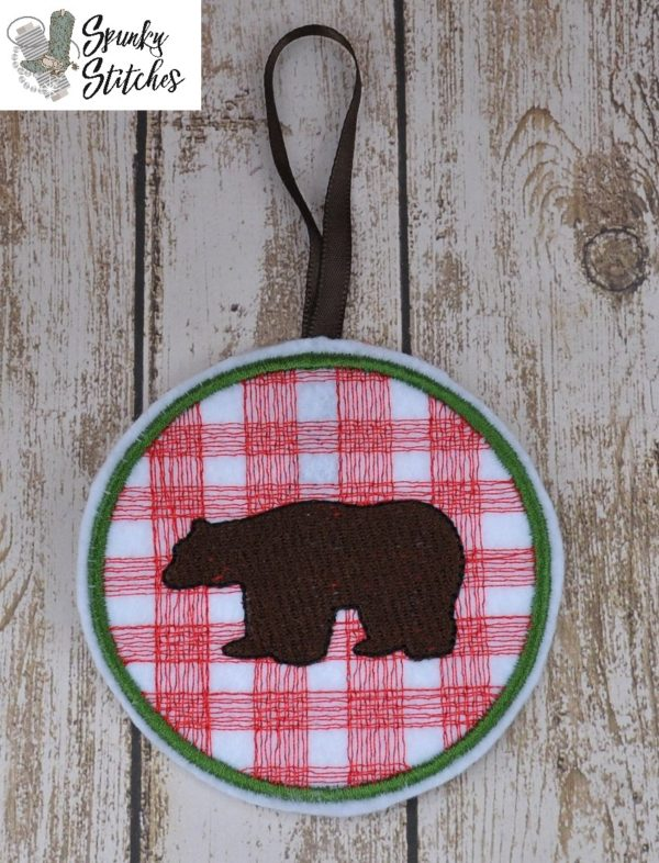 bear plaid ornament in the hoop embroidery file by spunky stitches