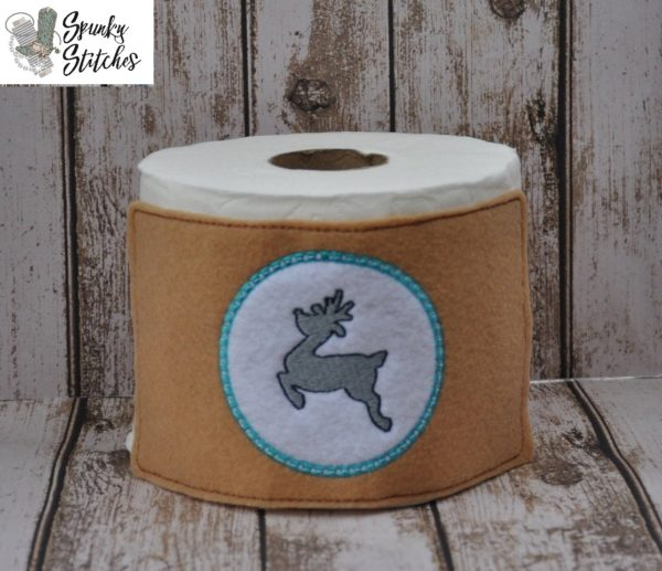 deer toilet paper wrap in the hoop embroidery file by spunky stitches
