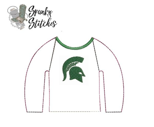Elf spartan raglan in the hoop embroidery file by spunky stitches