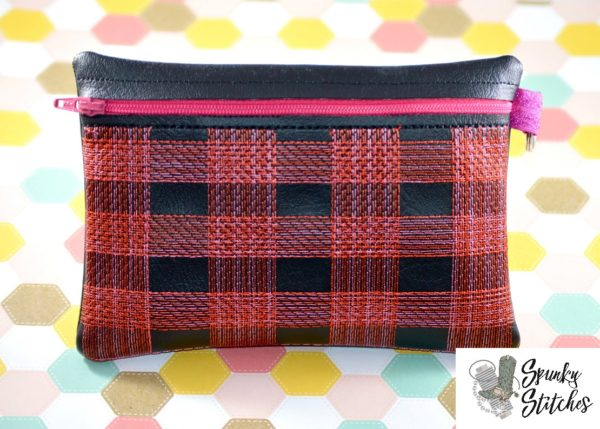 Large plaid zipper bag in the hoop embroidery file by spunky stitches