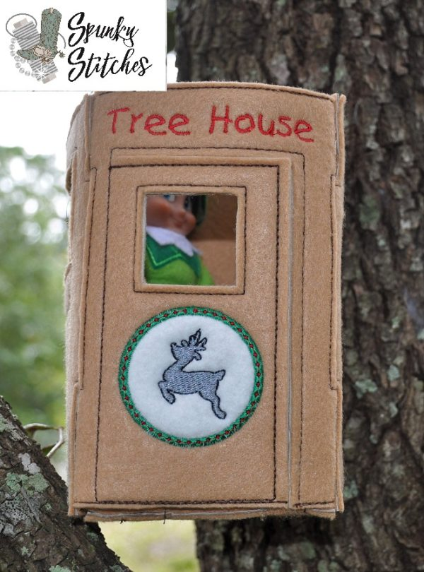 Elf tree house in the hoop embroidery file by spunky stitches