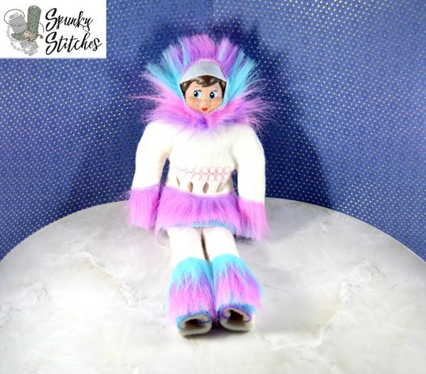 Elf eskimo costume in the hoop embroidery file by spunky stitches