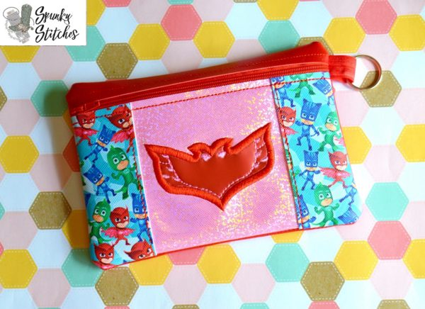 owlette zipper bag in the hoop embroidery file by spunky stitches