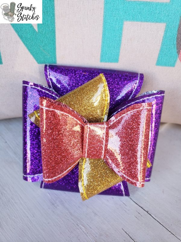 gift box bow in the hoop embroidery file by spunky stitches