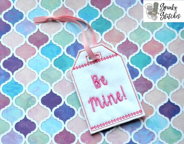 be mine gift tag in the hoop embroidery file by spunky stitches