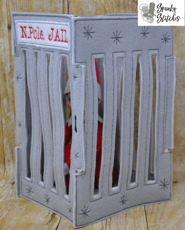 elf jail prop in the hoop embroidery file by spunky stitches.