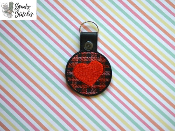 plaid heart key fob in the hoop embroidery file by spunky stitches.