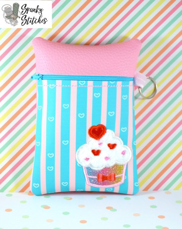Cupcake with hearts zipper bag in the hoop embroidery file by spunky stitches