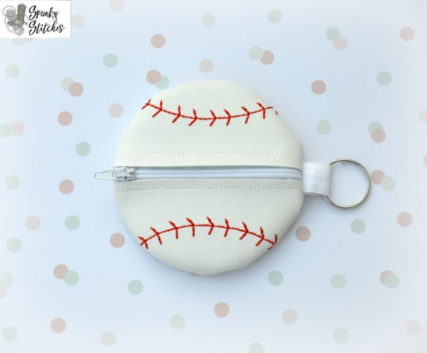 baseball zipper bag in the hoop embroidery file by Spunky stitches