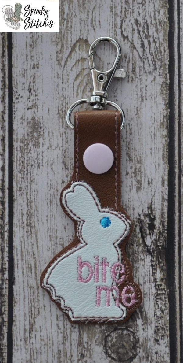 bite me key fob in the hoop embroidery file by Spunky stitches