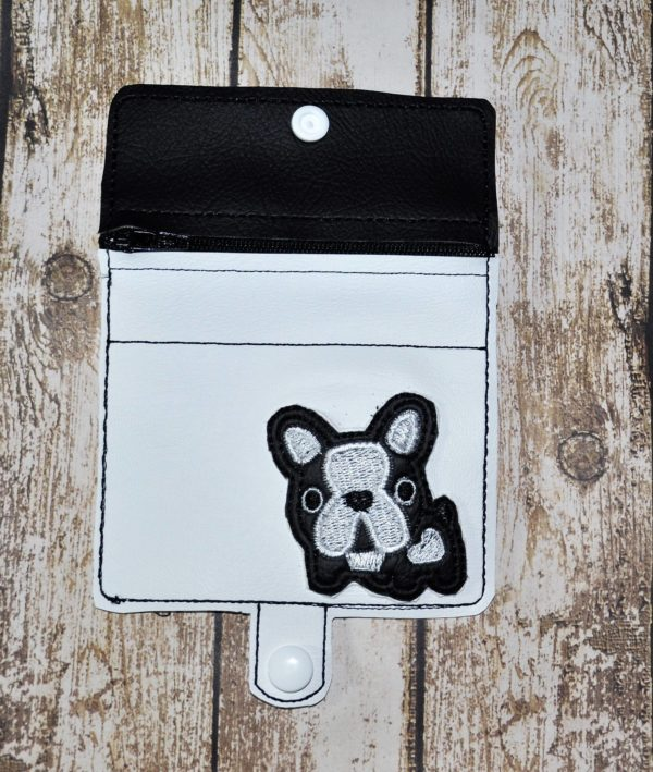 Boston Terrier Zipper Wallet in the hoop embroidery file by Spunky stitches