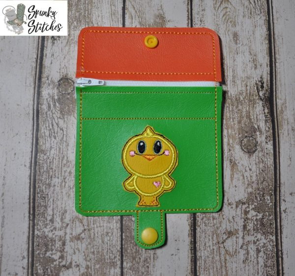 Chick Zipper Wallet in the hoop embroidery file by Spunky stitches