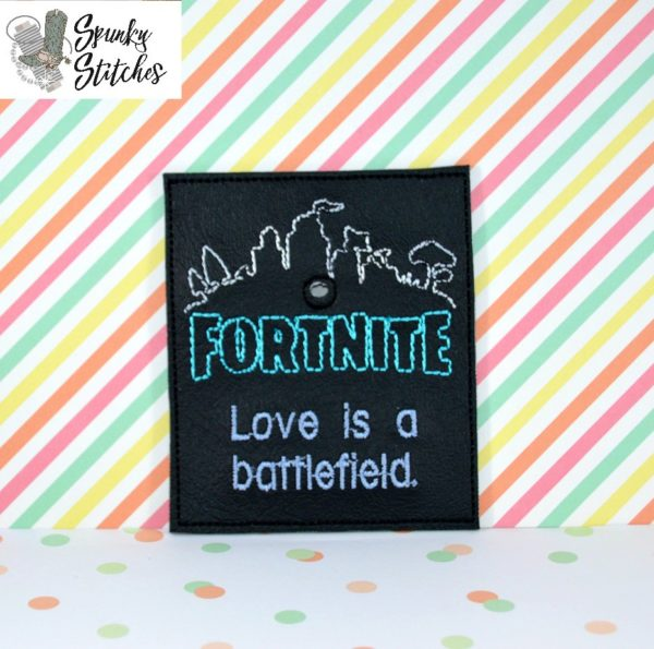 Fortnite valentine Sucker holder in the hoop embroidery file by Spunky Stitches.