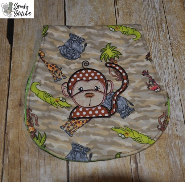Monkey applique embroidery file by Spunky stitches