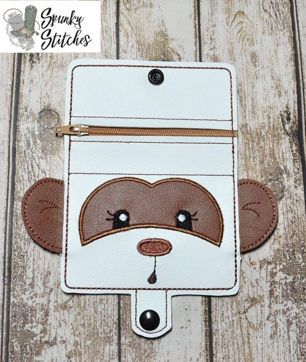 Monkey Zipper Wallet in the hoop embroidery file by Spunky stitches