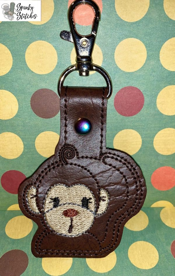Monkey Key Fob in the hoop embroidery file by Spunky stitches