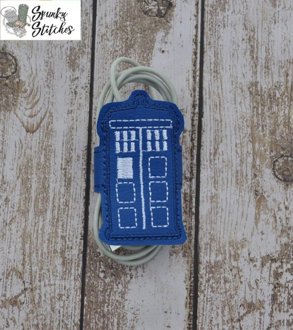 tardis cord wrap in the hoop embroidery file by Spunky stitches
