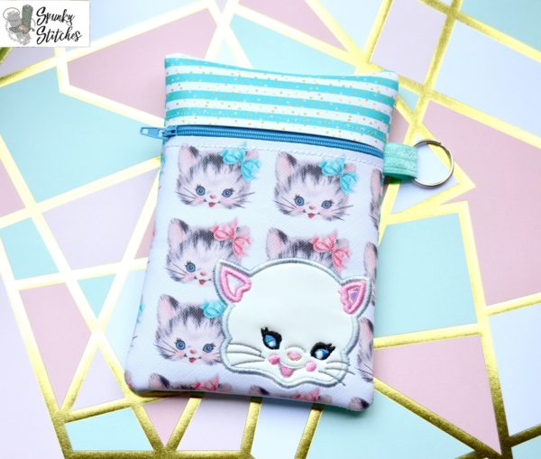 Vintage Kitty Zipper Bag in the hoop embroidery file by Spunky stitches