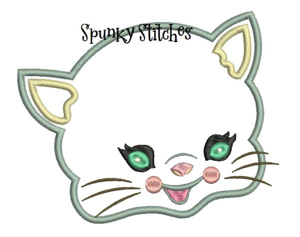 vintage kitty applique embroidery file by Spunky stitches