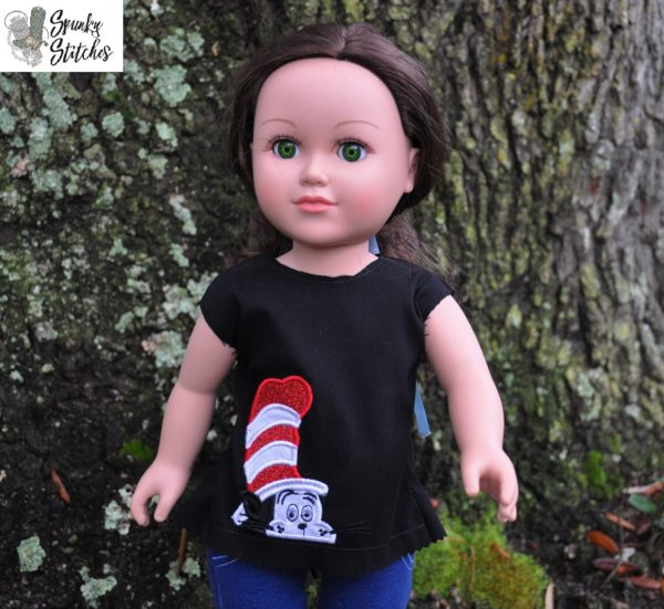 18in Doll Cat in the Hat shirt in the hoop embroidery file by Spunky stitches