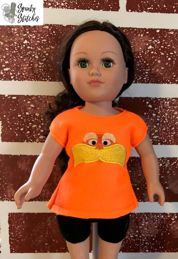 18in Doll Lorax shirt in the hoop embroidery file by Spunky stitches