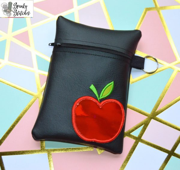 Apple Flap Zipper Bag in the hoop embroidery file by Spunky stitches